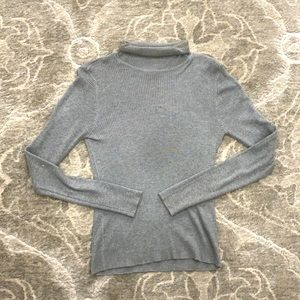 Urban Heritage Ribbed Grey Fitted Turtleneck